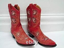 OLD GRINGO floral embroidered red leather cowboy boots size 7.5 WORN TWICE