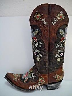 OLD GRINGO floral embroidery distressed brown leather cowboy boots 7.5 WORN ONCE