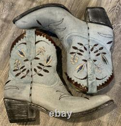 Old Gringo AMITOLA Blue Floral Embroidered COWGIRL 8 Leather BOOTS Size 10B