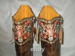 Old Gringo Brass Embroidered Leather Cowboy Western Boots Flowers Floral Sz 10