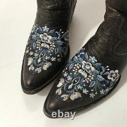 Old Gringo Brown Blue Floral Embroidered Cowboy Boots EUC 6.5 boho prairie