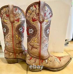 Old Gringo Brown Floral Embroidered 12½ Boots Sz 7 EUC Worn Once Retail $559