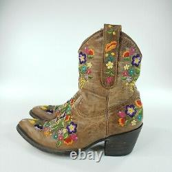 Old Gringo Brown Floral Western Boots Womens Pointed Toe Mid Calf Size US 7.5 B