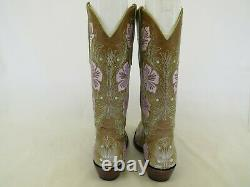 Old Gringo Brown Leather Embroidered Floral Cowboy Western Boots Womens Sz 6 B