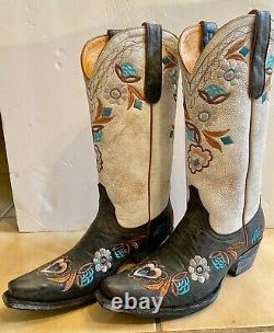 Old Gringo Cowboy Boots NEW Black Bone Floral Embroidered 12½ 7 Retail $559