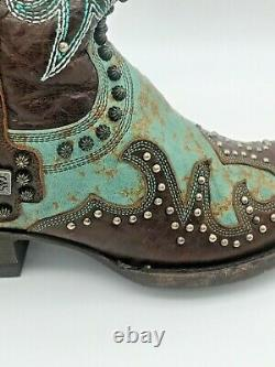 Old Gringo Double D Ranch Ammunition Turquoise Cowgirl Boots 7 Cross Cowboy USED