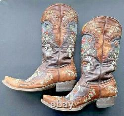 Old Gringo El Dia De Los Muertos Flowered Cowboy Boots Size 8.5 B EXCELLENT