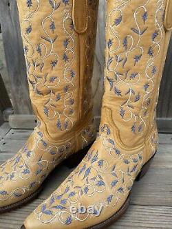 Old Gringo Embroidered Western Leather Tan Cowboy Boots 8B #1438 2542