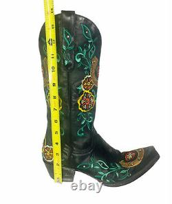 Old Gringo Floral Horseshoe Embroidered Black Leather Cowboy Boots Sz 7 B