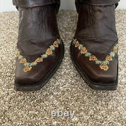 Old Gringo Hanna Gayla Leather Floral Embroidered boots With Harness Details