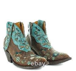 Old Gringo Ladies Cate Brown & Turquoise Floral Shortie Boots BL3186-1