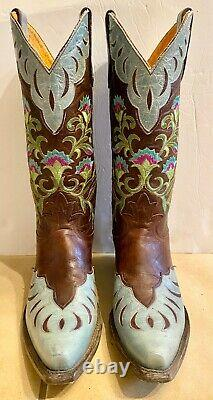 Old Gringo Naomi Turquoise Floral Embroidered 13 Boots Sz 7 EUC Worn Once $559