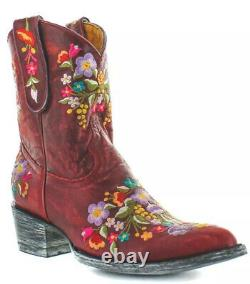 Old Gringo Sora Embroidered Floral Cowgirl Boots Red Ankle Boots Size 6.5