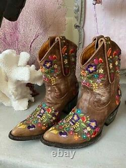 Old Gringo Sora Embroidered Floral Tan Brown Short Leather Cowgirl Boot 6 EUC