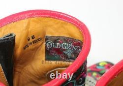 Old Gringo Sugar Skull Klak Biker 8 Multi Ankle Biker Boots Embroidered