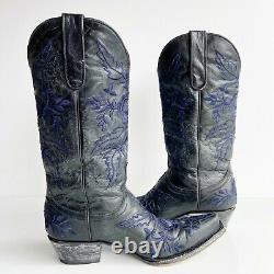 Old Gringo Sz 7 Rare Yippee Ki Yay Black Blue Embroidered Western Boots YL079-7