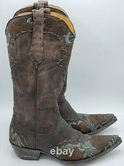 Old Gringo Women's Erin L640-1 Size 7B Chocolate Leather Boots Aqua ebroidery