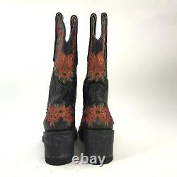 Old Gringo Yippee Kiyay Womens Black Red Floral Stitched Western Rodeo Boots 5B