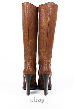 Prada Boots Brown Floral Embroidered Leather Knee High SZ 39
