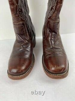 RARE FRYE WOMEN 77020 CAMPUS Tall Brown Floral Stitched Boots Size 8 B WESTERN
