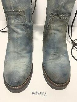 RARE Womens Freebird Cyrus Leather Boots Embroidered Flowers Size 7