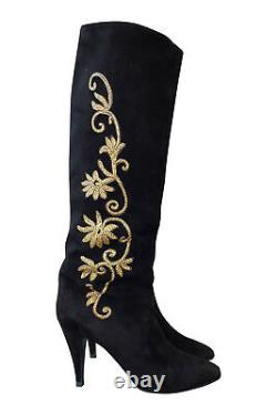 ROGER VIVIER Vintage Black Velvet Knee High Boots (9)