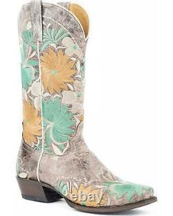 Roper Women's Floral Bouquet Embroidered Cowgirl Boot Square Toe Brown 7 M
