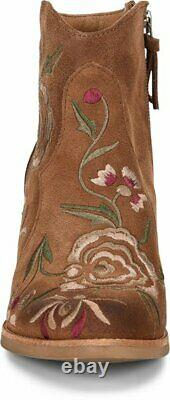 SOFFT Westmont II Lt Brown Bootie with Embroidered Floral Suede Leather 6 MED NEW