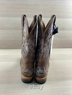 Shyanne LASY Brown Floral Embroidered Leather Square Toe Western Boots Women 6 M