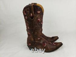 So-stylish! Old Gringo Embroidered Floral Distressed Leather Cowboy Boots 9.5