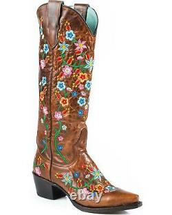 Stetson Women's Flora Embroidered Western Boot Snip Toe Brown 9 M