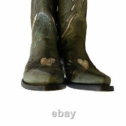 Stetson Women6 1/2 Green Leather Boot with Sequin Inlay Hearts Western Rockabilly