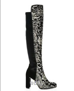 Stuart Weitzman Velvet Sequined Embroidered Over The Knee Alljill Boots Size 8M