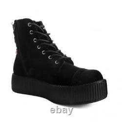 T. U. K. AV9320L Women Vegan Suede Combat Boot Sneaker Black 3D Embroidered Rose