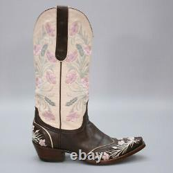 The Old Gringo Ladies 7 B Embroidered Cowboy Western Floral Brown Snip-toe Boots