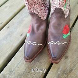 Tony Lama Vintage Rose Embroidered Tooled Leather Cowboy Boots 7 Western Boho
