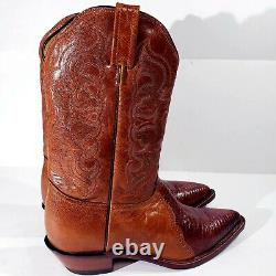 Tony Lama Womens Sz 9.5 B Exotic Lizard Skin Floral Etched Genuine Leather Boots