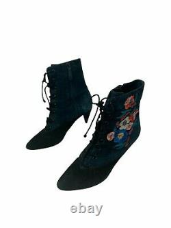 Tory Burch Size 8.5 M Cassidy Embroidered Lace-Up Bootie, Black/Battleship Blue/