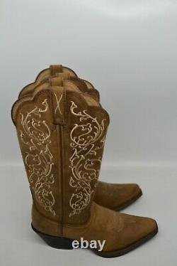 Twisted X Western Boots Womens 5.5 B square EMBROIDERY DISTRESSED Saddle WWT0022