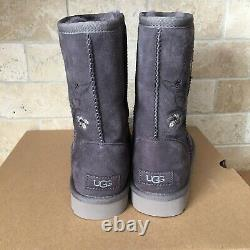 UGG Classic Short Blossom Floral Nightfall Embroidered Suede Boots Size 8 Women