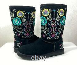UGG Juliette Embroidered Floral Black Suede Women's Boot Size 7 EU 38 Sheepskin