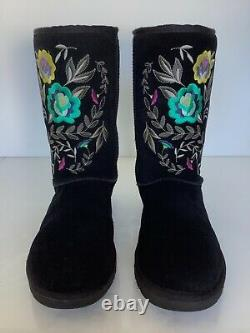 UGG Women Juliette Floral Embroidery Suede Black Women Size 9