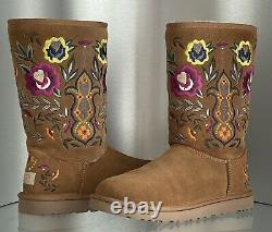UGG Women Juliette Floral Embroidery Suede Chestnut Women Size 10