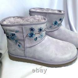 UGG Women's Lavender Classic Mini Blossom Boot Size 11 Floral Purple Sheepskin