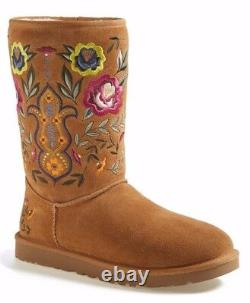 UGG Womens Juliette Floral Embroidery Suede Winter Boot Chestnut Brown Size 7