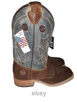 USA made Double-H Men's Squaretoe Boots. US 10. Western Themed. Blue & Brown