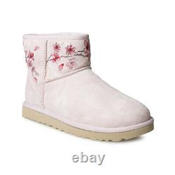 Ugg Classic Mini Blossom Seashell Pink Suede Waterproof Women's Boots Size Us 8
