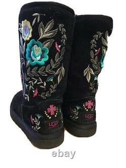 Ugg Juliette Floral Embroidered Black Suede & Shearling Women's Boots Sz 7
