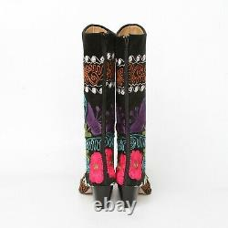 Unbranded Black Velvet Embroidered Pink Red Purple Floral Boots Womens 37 Flower