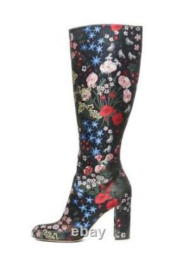 VALENTINO Floral Embroidered Print Boots Womens Knee High Tall Heel 8.5 38.5